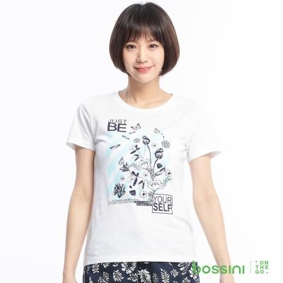 bossini女裝-印花短袖T恤59白