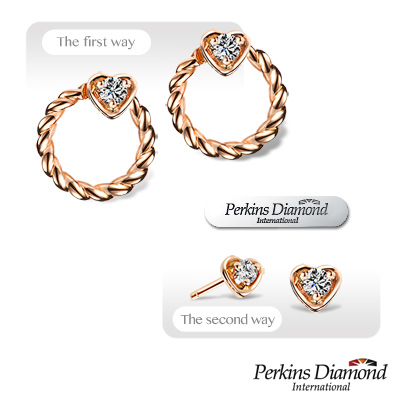 PERKINS 伯金仕 - Heart玫瑰金系列 鑽石耳環【兩用式】