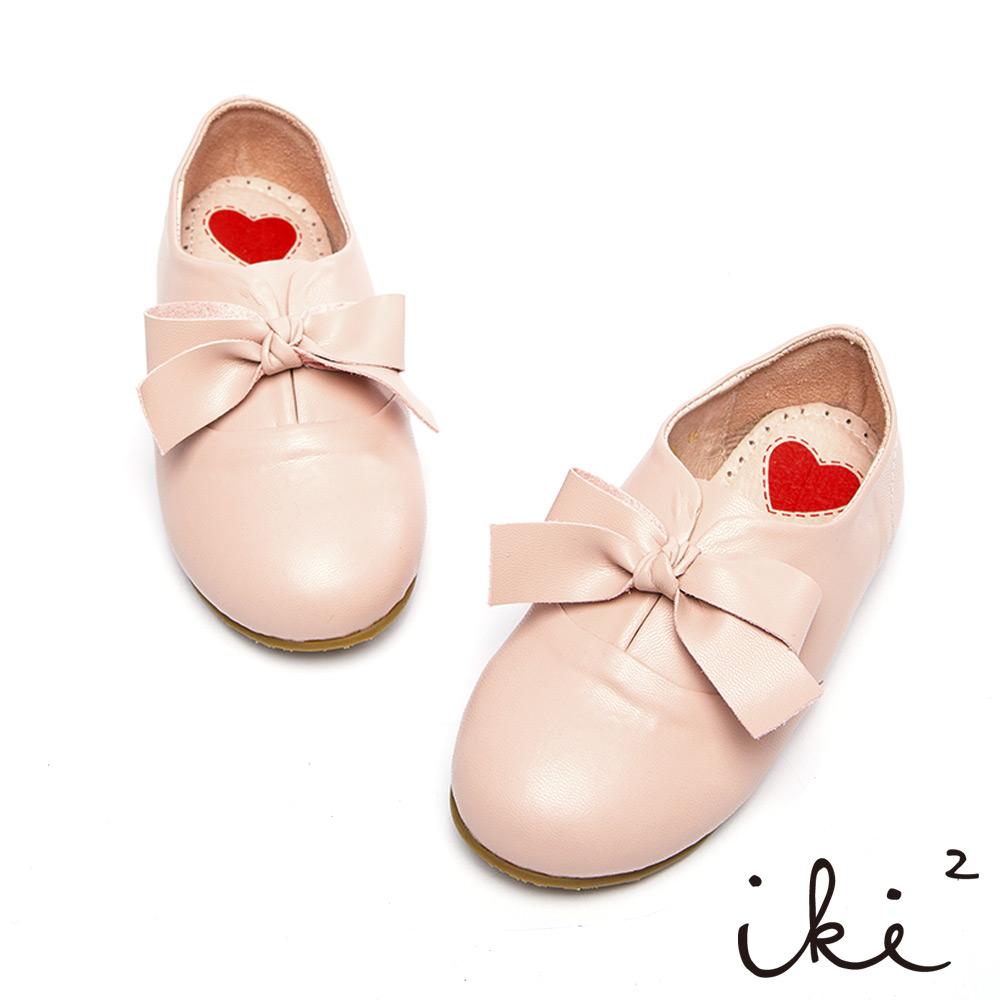 iki2童鞋-真皮粉嫩蝴蝶結休閒鞋-璀璨膚