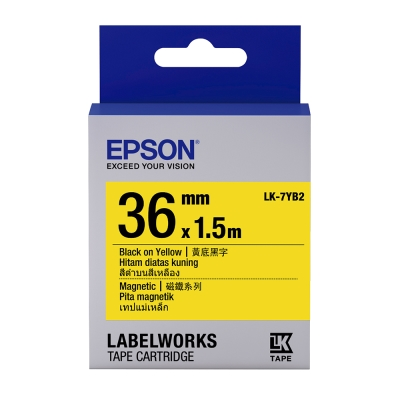 EPSON C53S657406 LK-7YB2磁鐵系列黃底黑字標籤帶(寬度36mm)