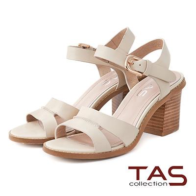 TAS 雙繫帶鏤空踝扣帶粗跟涼鞋-淺杏白