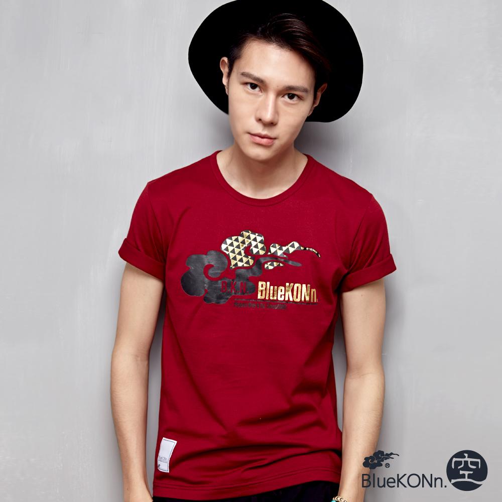 空 BLUE WAY 品牌LOGO短袖T恤-暗紅