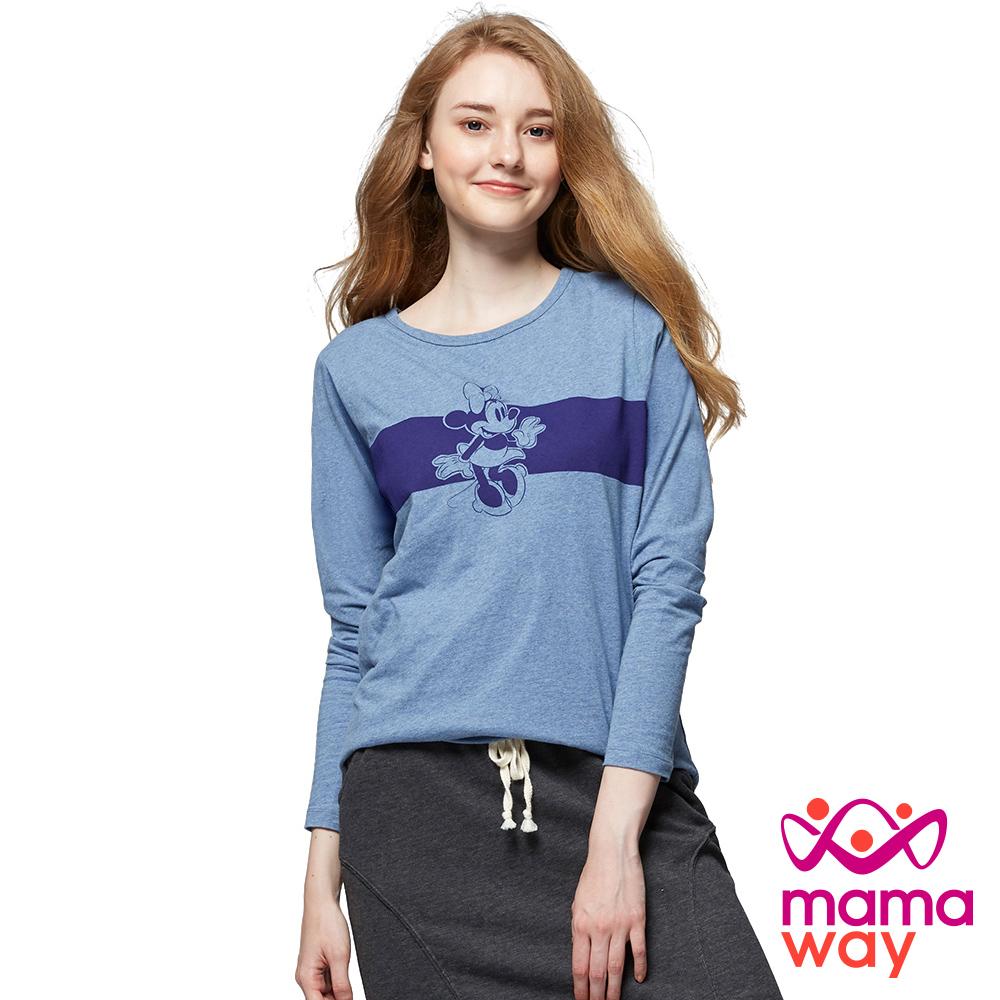 mamaway媽媽餵 橫條印花米妮孕哺T恤(共2色)