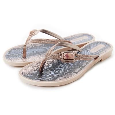 GRENDHA 寶石蟒蛇圖紋時尚夾腳鞋-玫瑰金