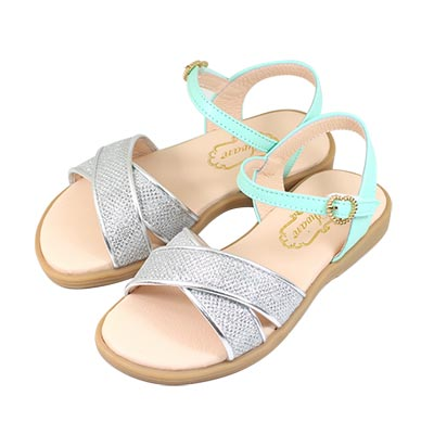 Swan天鵝童鞋-閃耀亮蔥交叉涼鞋 3847-綠