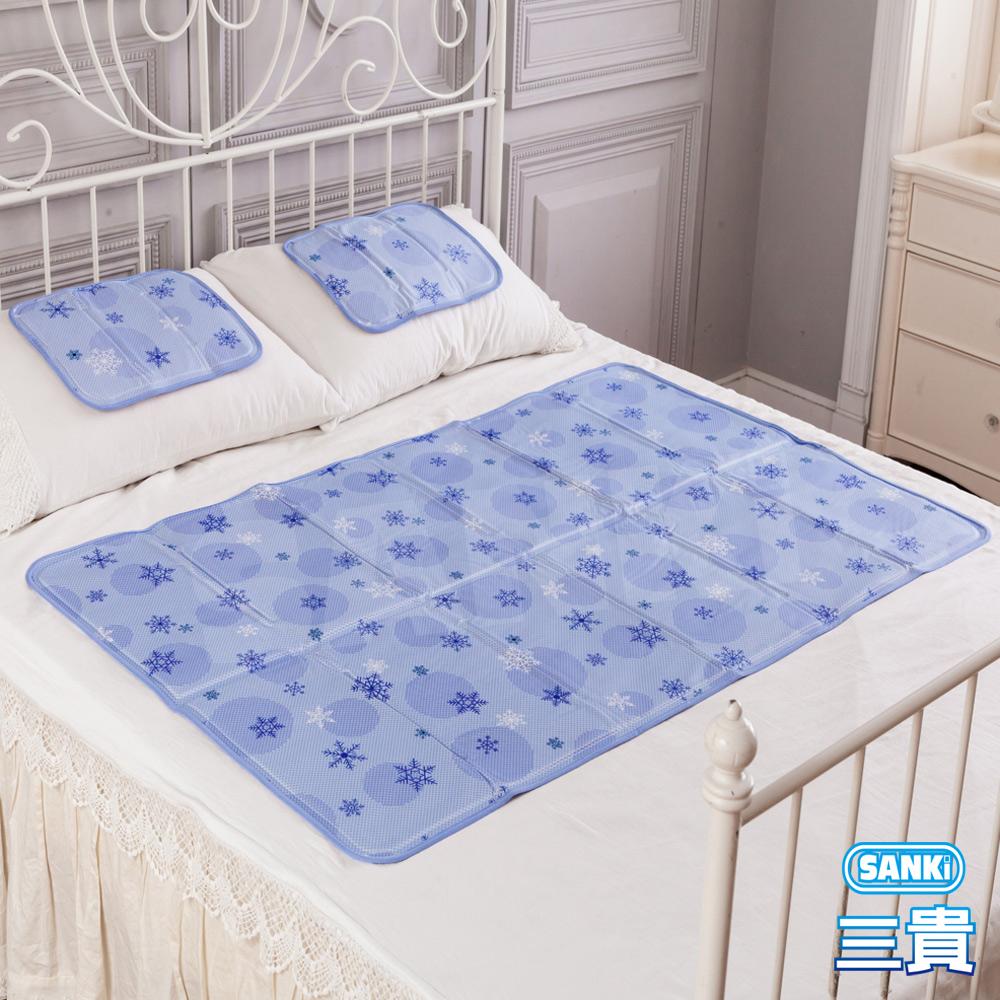 三貴SANKI 3D網雪花紫固態凝膠冰涼墊1床1枕