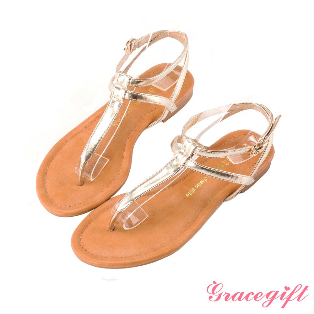 Grace gift 極簡魅力–雙層繫帶T字涼鞋 金