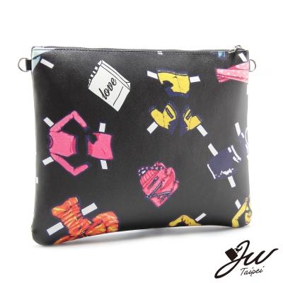 JW-鏈帶包-製衣產業隨性塗鴨手拿側肩包-共二色