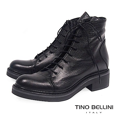 Tino Bellini義大利進口經典羊皮綁帶中低跟軍靴_ 黑