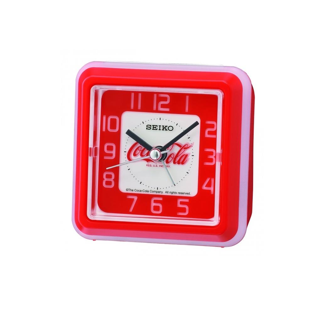 SEIKO 日本精工 可口可樂 滑動式靜音 鬧鐘(QHE906R)-紅/8.6X8.6cm