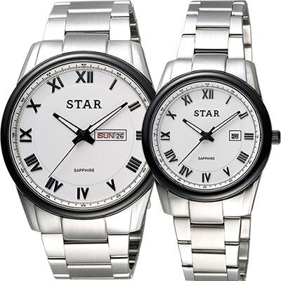 STAR 時代 羅馬城市時尚對錶-白x黑框/ 43 + 32 mm