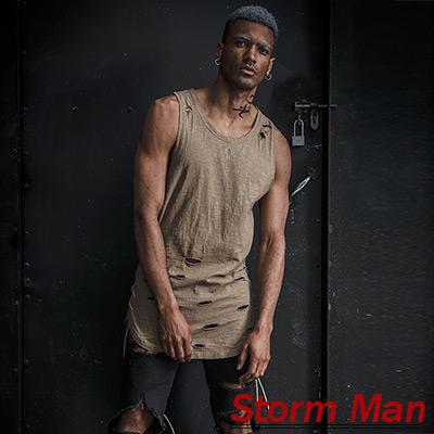 頹廢不規則破洞側邊綁帶抽繩無袖上衣 (卡其色)-Storm Man