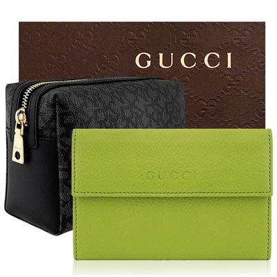 GUCCI 青綠色九卡中夾+DKNY 黑色化妝包