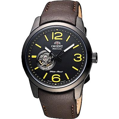 ORIENT東方 開芯時刻機械錶FDB0C001B-黑x咖啡/42mm