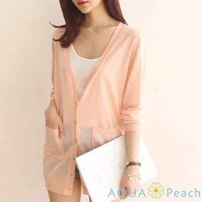 糖果色口袋V領長版薄外套 (共七色)-AQUA Peach
