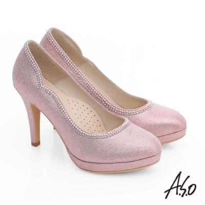 A.S.O 甜蜜樂章 金蔥布滾邊珍珠水鑽高跟鞋 粉紅色