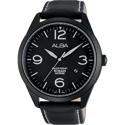 ALBA 街頭玩酷時尚藍寶石水晶腕錶(AS9753X1)-黑/44mm