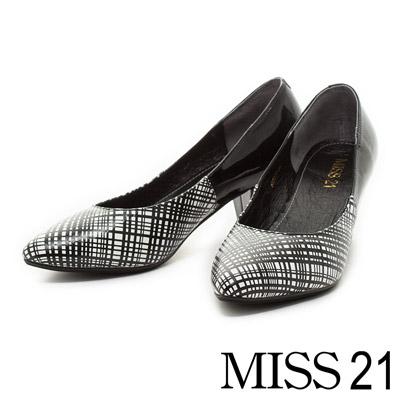 MISS-21-異材質拼接線條牛皮通勤粗跟鞋-灰