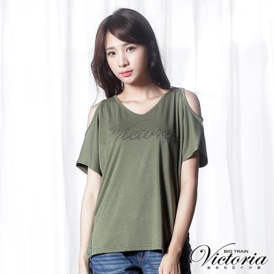 Victoria 肩挖洞側脅蕾絲剪接短袖T-女-綠色