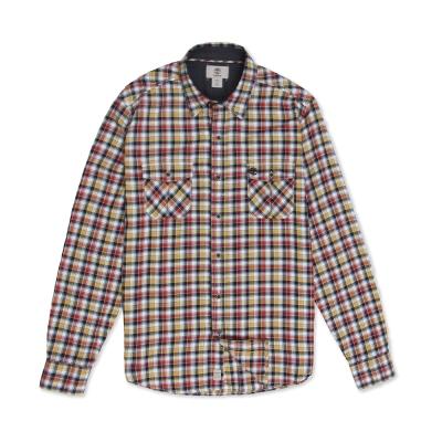 Timberland 男款黃紅色格紋輕量法蘭絨長袖襯衫
