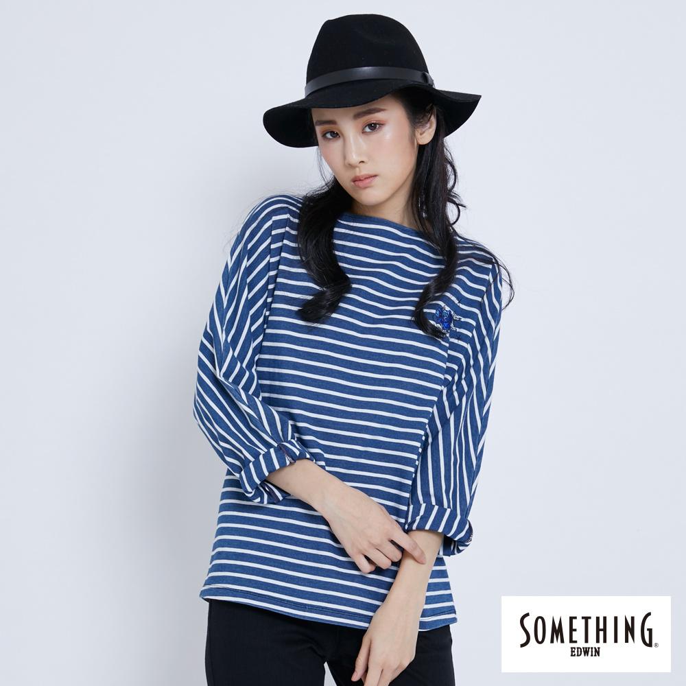 SOMETHING 連袖靛藍條紋圓領T恤-女-漂淺藍
