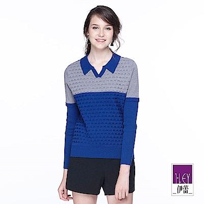 ILEY伊蕾 幾何緹織裝飾配色針織上衣(藍)