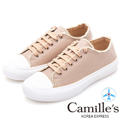 Camille's 韓國空運-綁帶絨毛滾邊休閒鞋-杏色