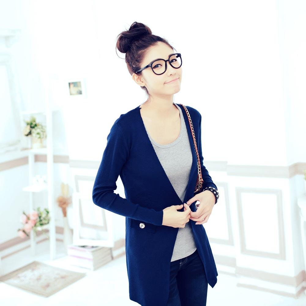 La Belleza質感OL素面金釦腰身針織西裝外套