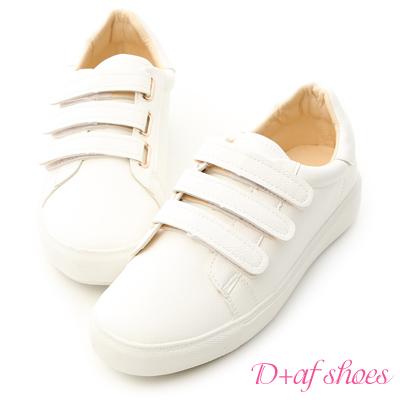 D+AF 活力時光.三條魔鬼氈休閒小白鞋*白