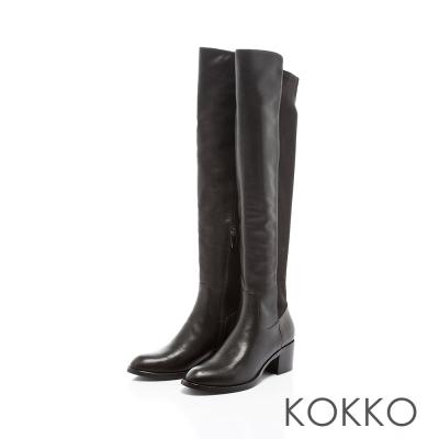 KOKKO-美腿顯瘦異材拼接貼腿膝長靴-魅力黑