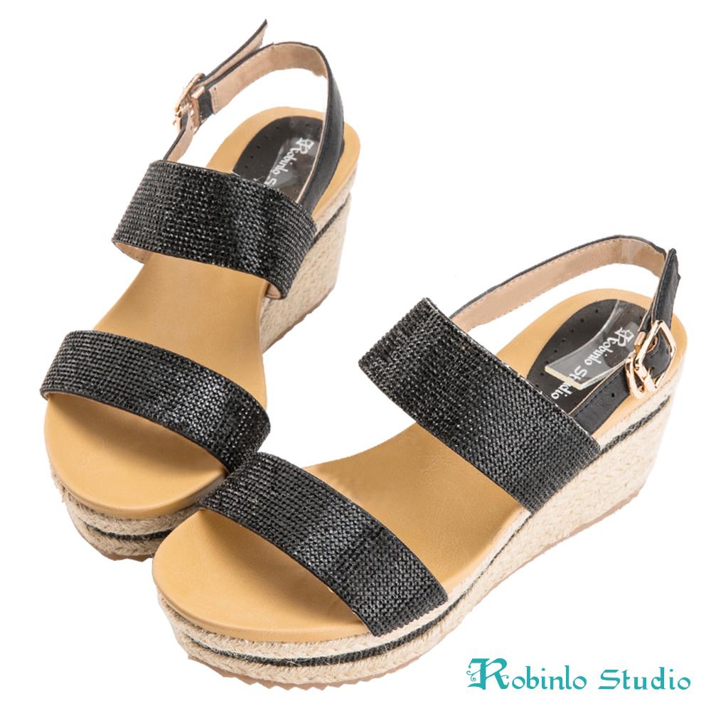 Robinlo Studio 精美燙鑽麻繩雙帶牛皮涼鞋 黑色
