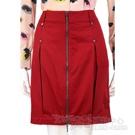 PLEIN SUD JEANIUS 紅色抓褶拉鍊設計及膝裙