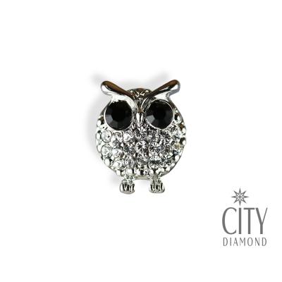 City Diamond引雅【東京Yuki系列】黑眼貓頭鷹水鑽胸針/領帶/別針/徽章