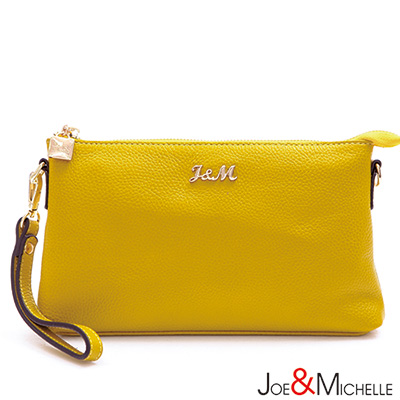 J-M-真皮莉緹亞mini手拿斜背包-琥珀黃
