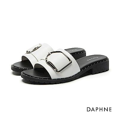 達芙妮DAPHNE 拖鞋-珠釘飾邊一字粗跟拖鞋-白