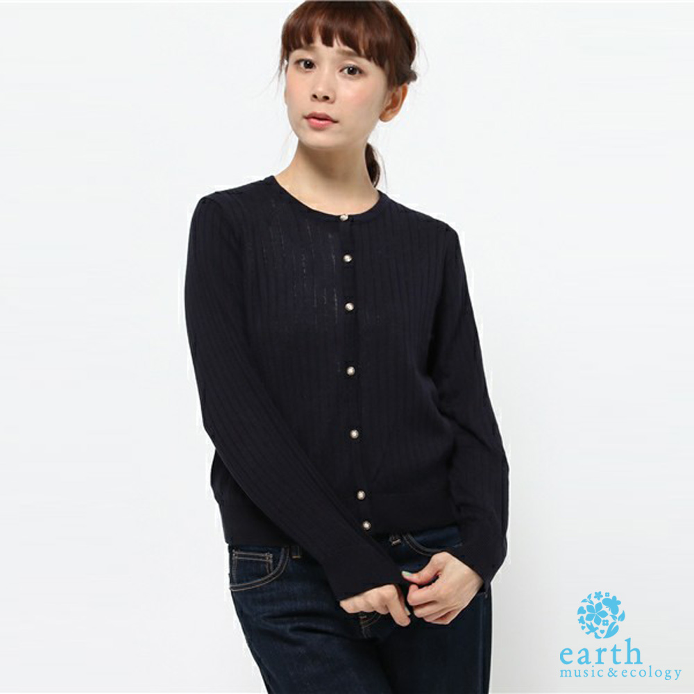 earth music 羅紋鑽飾釦長袖針織上衣/小外套-10163D71000