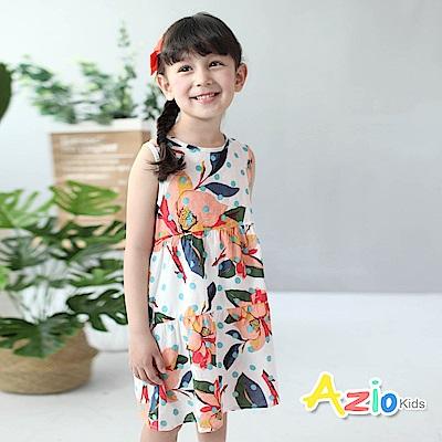 Azio Kids 童裝-洋裝 鮮豔彩花後綁帶拉鍊背心洋裝(白)