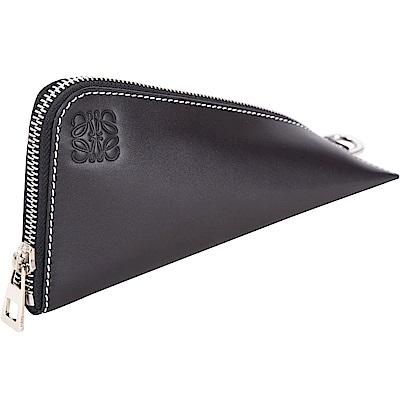 LOEWE Oversized Z型滑面小牛皮零錢包(黑色)