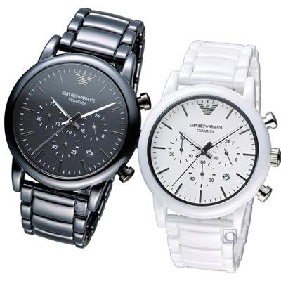 Armani Classic 愛戀心語計時對錶-黑+白/ 43 mm