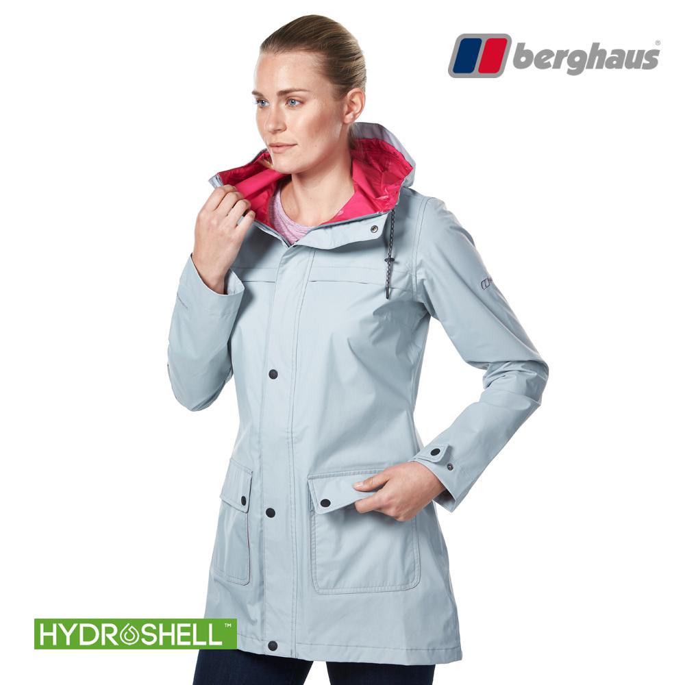 【Berghaus貝豪斯】女款HydrShell防水透氣長版外套H22F30石灰