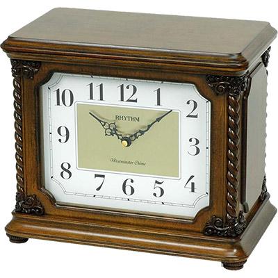 RHYTHM日本麗聲 實木收藏盒報時座鐘-31.3x25.8x19.3cm