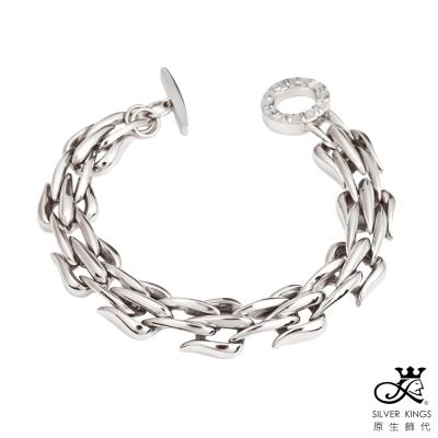 原生飾代SilverKings-銀白龍紋白鋼手鍊小