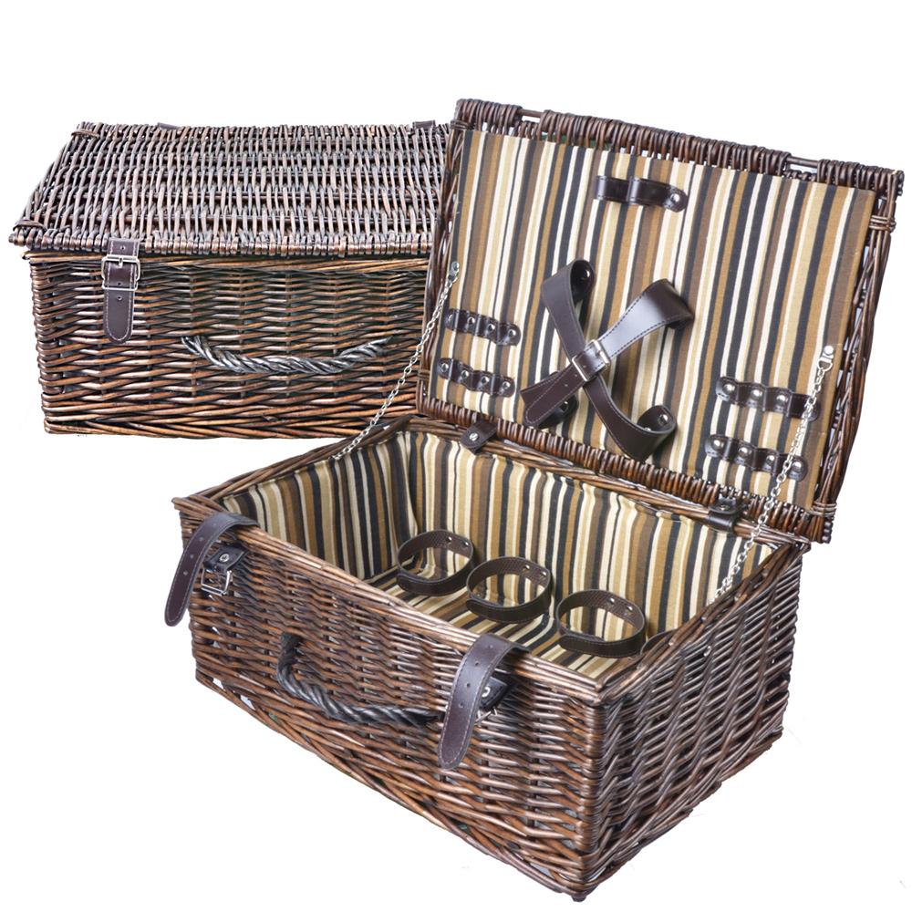 (快速到貨) 波帝莊園 歐式復古條紋 手工籐編野餐籃 贈開瓶器