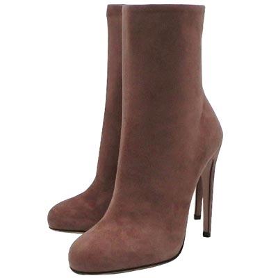 GUCCI 咖啡色麂皮時尚高跟短靴-38.5號