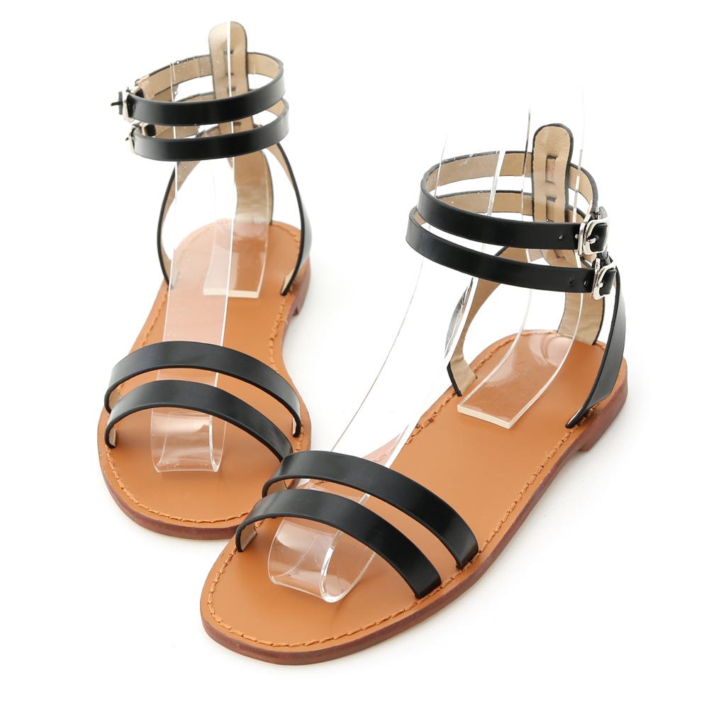 D+AF 夏日話題.一字雙帶繫踝平底涼鞋*黑