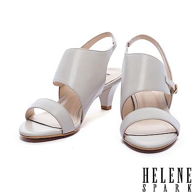 涼鞋 HELENE SPARK 流線剪裁異材質拼接後繫帶高跟涼鞋-灰