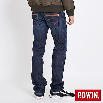 EDWIN 大尺碼 EDGE格紋貼合保溫直筒褲-男-中古藍