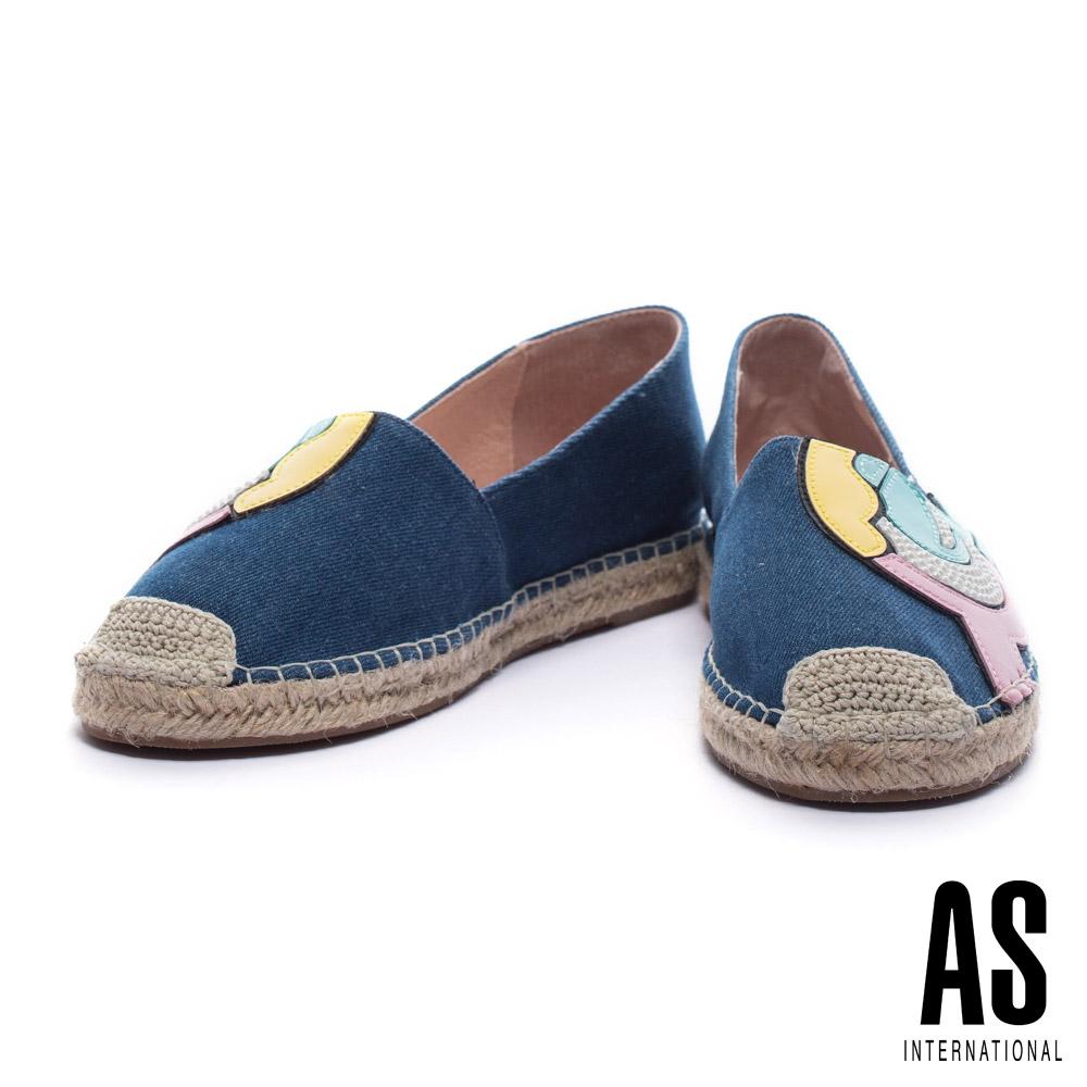 休閒鞋 AS 俏皮活潑珍珠皮革拼接設計牛仔草編厚底休閒鞋-藍