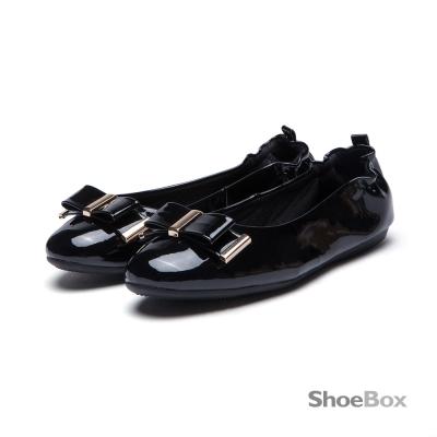 鞋櫃ShoeBox 平底鞋-蝴蝶結鬆緊帶圓頭娃娃鞋1016404431-黑色