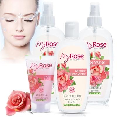保加利亞My rose玫瑰純露清新調理噴霧2+去角質1+卸妝水1超值四入組